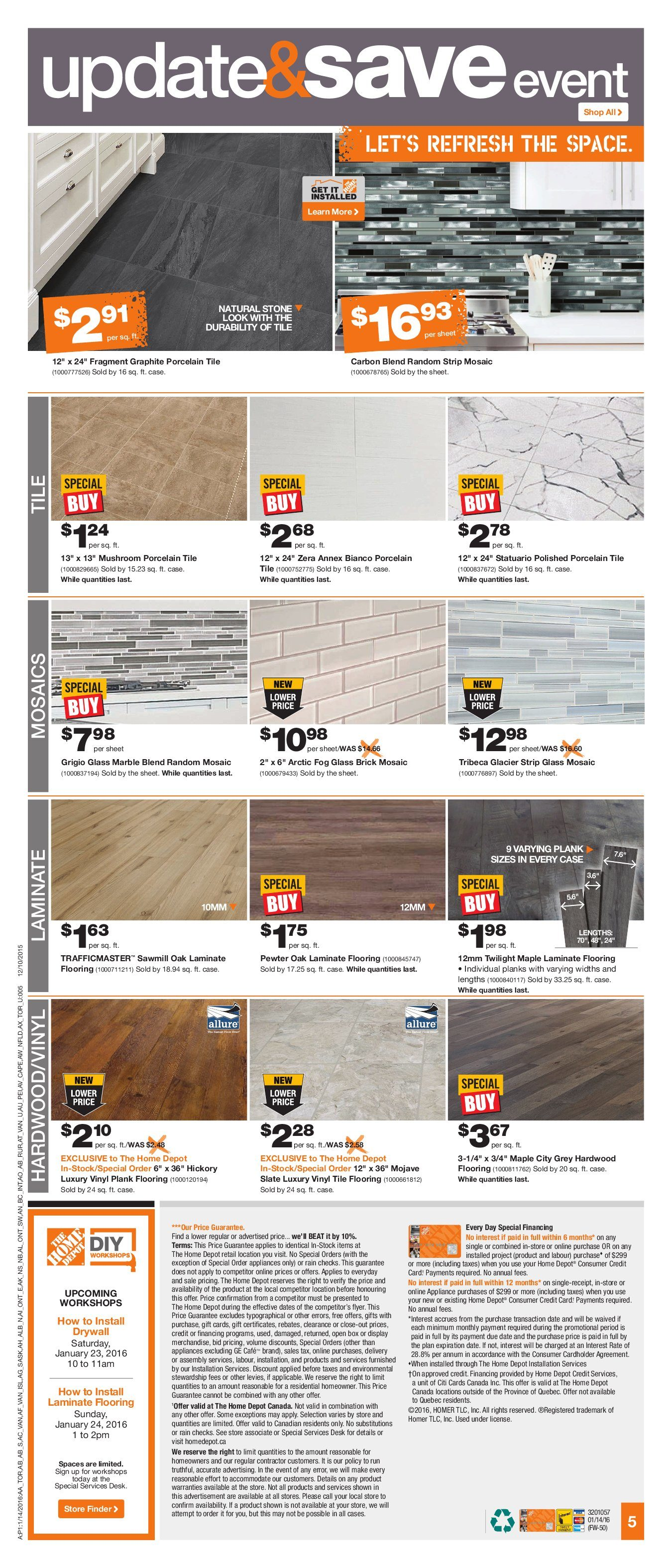 Home Depot Weekly Flyer Weekly Update & Save Event Jan 14 – 20