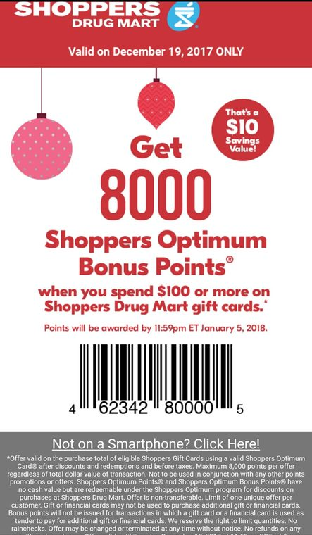 Shoppers Drug Mart Gift card 8000 bonus points for $100