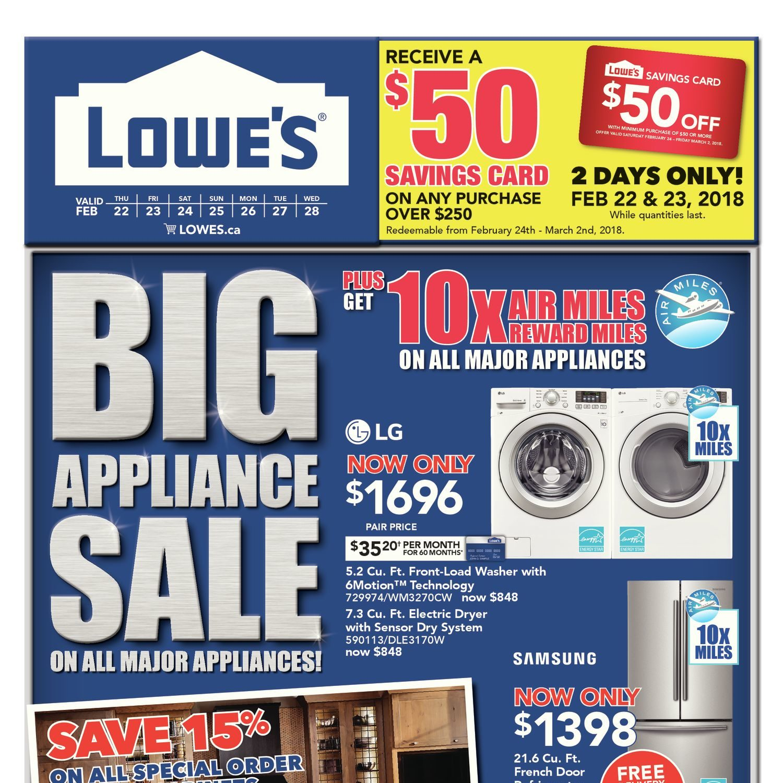 Lowe\'s Weekly Flyer - Weekly - Big Appliance Sale - Feb 22 – 28 ...
