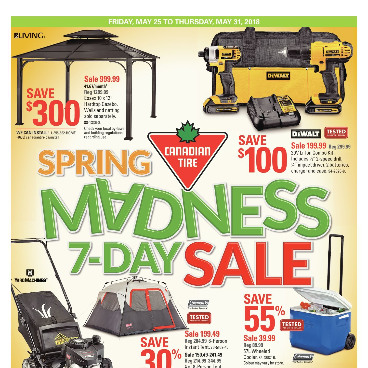 canadian tire weekly flyer spring madness 7 day sale may 25 31