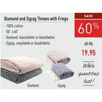 Diamond And Zigzag Throws With Fringe