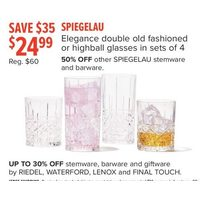 Spiegelau Elegance Double Old Fashioned Or Highball Glasses