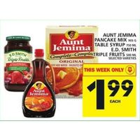 Aunt Jemima Pancake Mix, Table Syrup, E.D.Smith Triple Fruits
