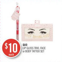 Quo Lip Gloss Trio, Face Or Body Tattoo Set