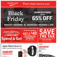 Sport Chek Black Friday 2019 Flyer Save The Tax November 28 29 100 Off Apple Watch Series 4 Up To 65 Off Doorcrashers More Redflagdeals Com