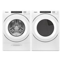 Whirlpool 5.2 Cu. Ft. I.E.C. Closet Depth Front Load Washer and 7.4 Cu. Ft. Electric Dryer