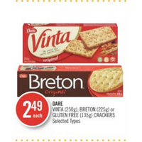 Dare Vinta, Breton or Gluten Free Crackers
