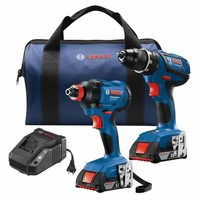 Bosch 18-V Drill/Driver and Impact Driver Combo - Free Bosch 18-V Li-Ion Power Tool Battery