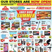 Factory Direct - Early Bird Summer Sale! Flyer