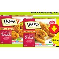 Janes Pub Style Chicken Strips, Nuggets or Burgers