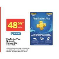 Playstation Plus 12-Month Membership