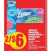 Ziploc Freezer, Sandwich or Storage Bags