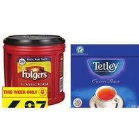Folgers Ground Coffee, Tetley Tea, Starbucks Ground Coffee, \Ppods