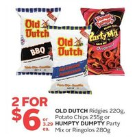 Old Dutch Ridgies, Potato Chips or Humpty Dumpty Party Mix or Ringolos