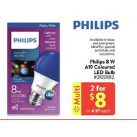 Philips 8 W A19 Coloured LED Bulb