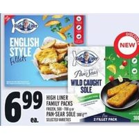 High Liner Family Pack Frozen, or Pan-Sear Sole