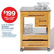 Superb Life At Home Bamboo Kitchen Cart   $199.00