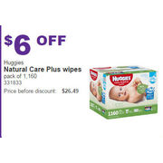 Huggies Natural Care Plus Wipes Pack of 1160 - $6.00 off
