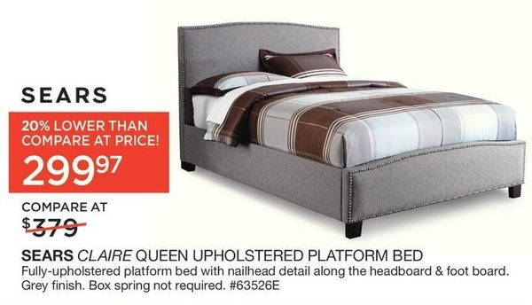 Sears Sears Claire Queen Upholstered Platform Bed Redflagdeals Com