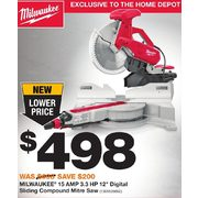 "Milwaukee 15 Amp 3.3 Hp 12"" Digital Sliding Compound Mitre Saw - $498.00 ($200.00 off)"
