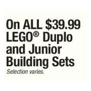 All $3999 Lego Duplo and Junior Building Sets - $30.00