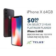 Telus Apple iPhone X 64GB - $0.00 w/ Select 2-yr Platinum Plans