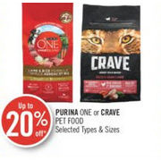 Purina One or Crave Pet Food - Up to 20% off