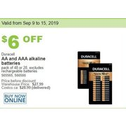 Duracell AA and AAA Alkaline Batteries - $21.99 ($6.00 off)