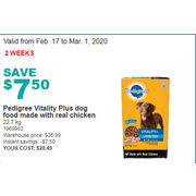 Pedigree Vitality Plus Dog Food Made with Real Chicken - $28.49 ($7.50 off)