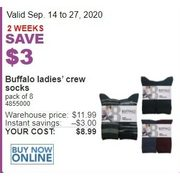 Buffalo Ladies' Crew Socks - $8.99 ($3.00 off)