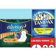 Always Pads, Tampax Tampons - $3.99
