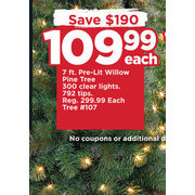 7 Ft. Pre-Lit Willow Pine Tree  - $109.99 ($190.00 off)